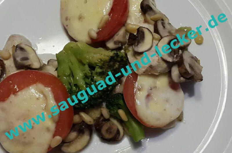 Putenschnitzel mit Brokkoli vom Stein